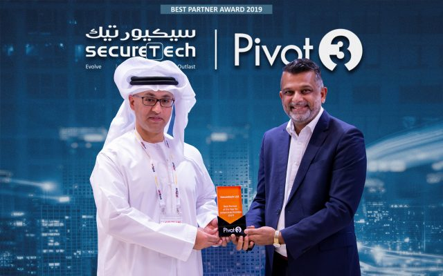 Best Partner of the year 2019 award from Pivot3 during Intersec 2020